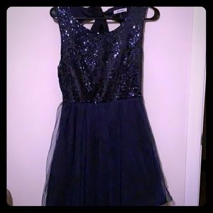 Navy Blue Sequin Party Dress